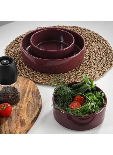 Keramika Keramika Mürdüm Stackable Salata/Çerez Seti 3 Parça Renkli